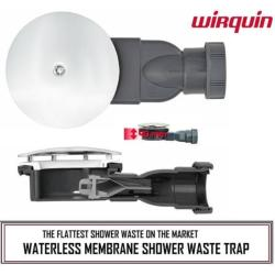 Wirquin Slim Extra Flat Low Profile Shower Trap Waterless Membrane For 90mm