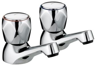 Bristan VAC 1/2 C MT Chrome Plated Club Basin Taps with Metal Heads
