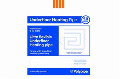 Polypipe Underfloor Heating Pipe Polybutylene 15mm X 80m Coil UFH Pipe UFH8015B
