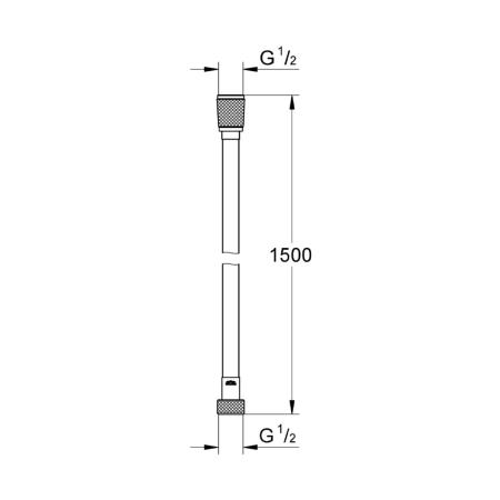 GROHE Silver Flex Hose with Swivel Connector for Twistfree Function 1500 mm