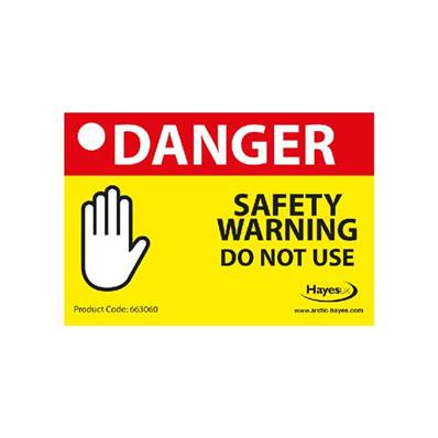 Arctic Hayes 'Danger Safety Warning' Notice Pad (10Pk) 663060