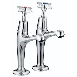 Bristan VAX HNK C Cross Top High Neck Pillar Chrome Plated Taps