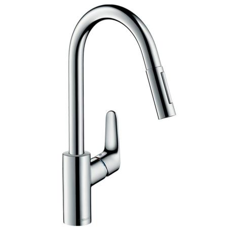 Hansgrohe focus kitchen tap with pull out spray and 150° swivel range