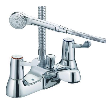 BATHROOM CHROME SINGLE LEVER PILLAR BATH SHOWER MIXER TAP HOSE HANDSET BRACKET T