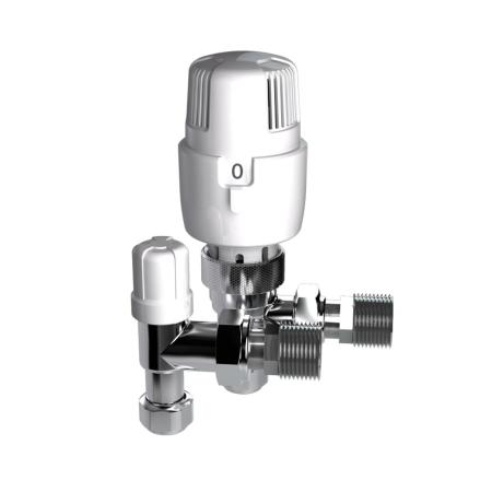 Inta I-THERM 10/8mm Angled Thermostatic Radiator Valve Twin Pack 108TWINA