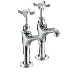 Bristan N HNK C 1901 High Neck Pillar Chrome Plated Taps
