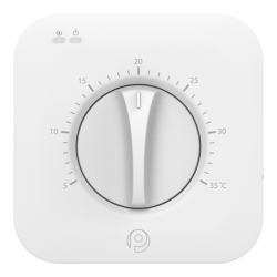 Polypipe White Dial Room Thermostat UFHDIALW - Set-Back Mode Function and Remote - Sensor Compatible