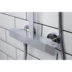 Bristan Quadrato Shower - Exposed Fixed Head Bar Shower with Diverter and Kit (QD SHXDIVFF C Model)