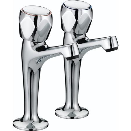 Bristan VAC HNK C MT Club Chrome Plated High Neck Pillar  Taps with Metal Heads