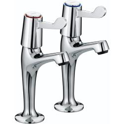 Bristan VAL HNK C CD Lever High Neck Pillar Chrome Plated Taps with Ceramic Disc Valves
